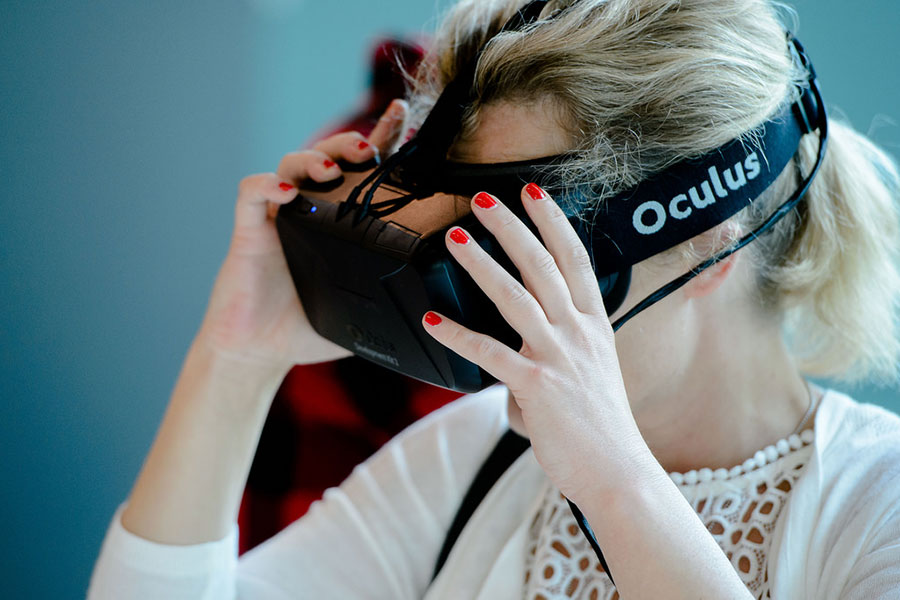 Girl wearing Oculus Rift
